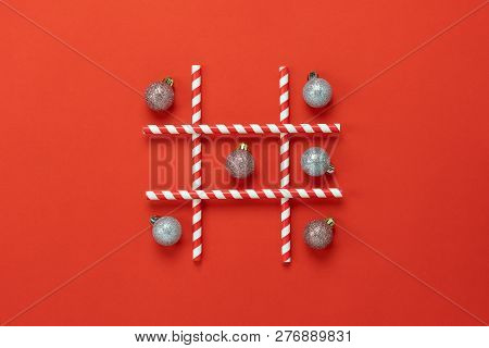 Table Top View Of Merry Christmas Decorations & Happy New Year Ornaments Concept.flat Lay Essential