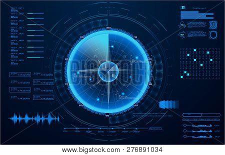 Futuristic Radar. Military Navigate Sonar.futuristic Concept Hud, Gui Style. Screen ( Dashboard, Fut