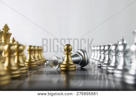 Chess (pawn Or Chessman Wins The Game) On White Background. Success, Business Strategy, Tactics, Win