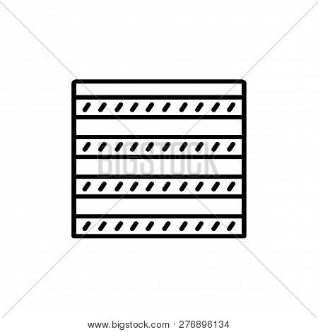 Black & White Vector Illustration Of Combi Curtain Shutter. Line Icon Of Window Horizontal Blind Jal