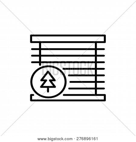 Black & White Vector Illustration Of Venetian Wood Curtain Shutter. Line Icon Of Window Horizontal W