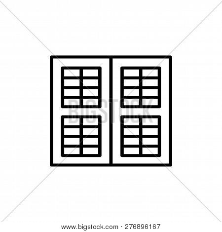 Black & White Illustration Of Old Louver Window Shutter. Vector Line Icon Of Wooden Vintage Outdoor