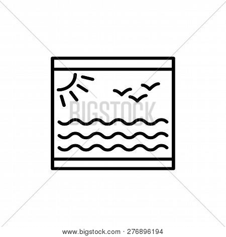 Black & White Vector Illustration Of Roller Blind Shutter With Print. Line Icon Of Window Jalousie.