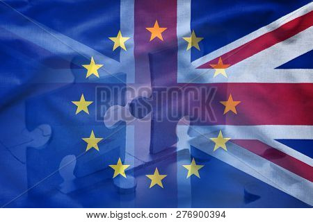 European Union And United Kingdom Puzzle Concept With Flags Of Eu And Union Jack Combined In Full Fr