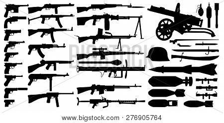 Firearms arsenal, military weapons collection. Isolated set vector silhouette. Objects pistol, machine gun, sniper rifle, grenade launcher, submachine gun. Retro, World War 2 poster