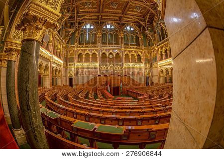 Budapest, Hungary - December 19, 2018: Interior Of The Hungarian Parliament, The Seat Of The Hungari
