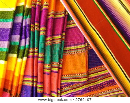 Colorful Mexican Blankets. Taken in Cozumel Mexico. poster