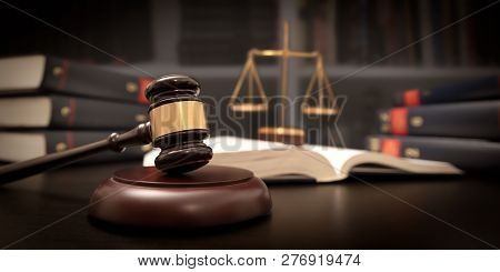 Judge Gavel And Scale In Court. Legal Concept