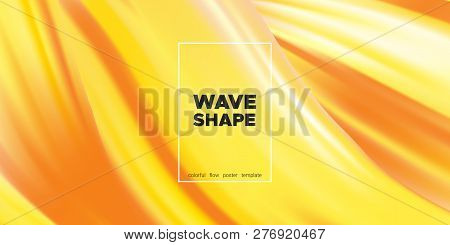 Yellow Abstract Fluid Background, Flow Poster. Wave Shape In Movement With 3d Effect. Brush Strokes
