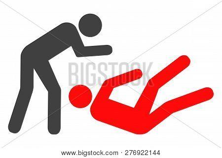 Judo Struggle Vector Icon Symbol. Flat Pictogram Is Isolated On A White Background. Judo Struggle Pi