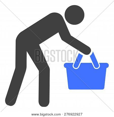 Tired Buyer Persona Vector Icon Symbol. Flat Pictogram Is Isolated On A White Background. Tired Buye