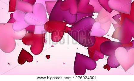 Flying Hearts Vector Confetti. Valentines Day Wedding Pattern. Beautiful Pink Frame Valentines Day D