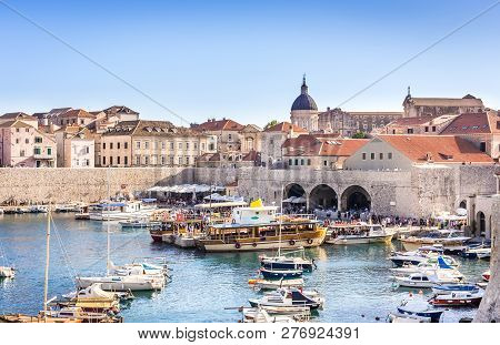 Dubrovnik, Croatia - July 17, 2018: People Visiting Amazing Old Town In Dubrovnik, Croatia