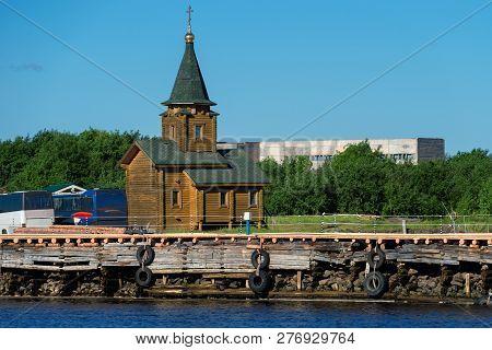 Kem, Republic Of Karelia, Russia - June 24, 2018: Chapel Of St. Nicholas In The Village Of Rabocheos
