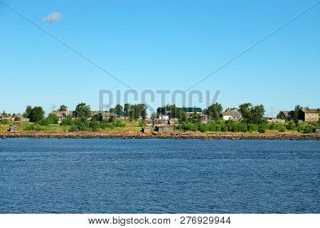 Village Of Rabocheostrovsk, Kem. View From The White Sea, Arkhangelsk Region, Russia