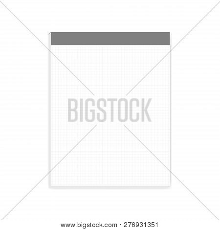 Squared White Note Paper Block, Realistic Vector Mock-up. Letter Size Writing Pad With Tear Off Shee