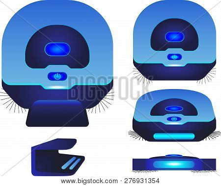 Robot Vacuum Cleaner. Blue Robot Vacuum Cleaner In Different Angles. Robot Vacuum Cleaner Is Chargin