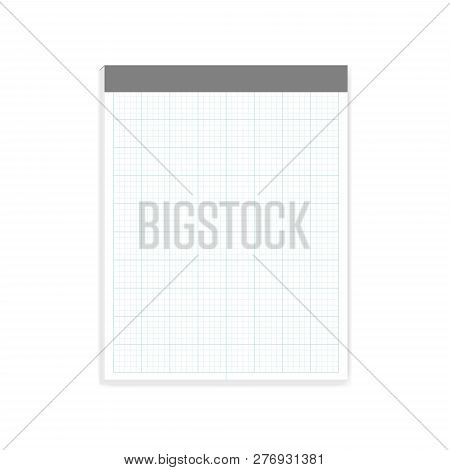 Squared Note Paper Block, Realistic Vector Mock-up. Letter Size Cross Section Writing Pad With Tear