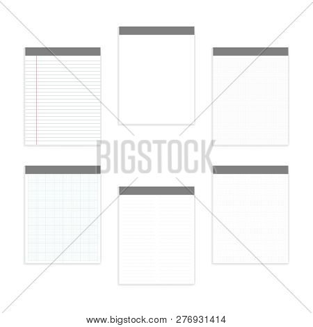 Empty White And Various Ruled Note Paper Letter Size Block Set, Realistic Vector Mock-up. Glue Top M