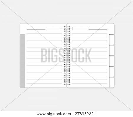 Open Spiral Notebook With Tab Dividers, Mockup. White Notepad With Bookmarks, Template. Wire Bound L