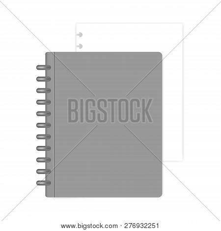 Closed Letter Size Refillable Disc Bound Notebook With White Filler Paper Sheet, Mock-up. Gray Discb