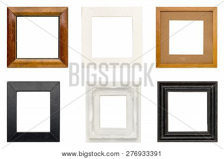 Set Of Old Picture Frames With, Isolated On White