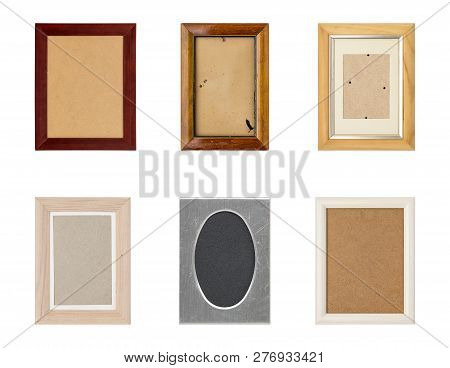 Set Of Old Picture Frames With Passepartout, Isolated On White