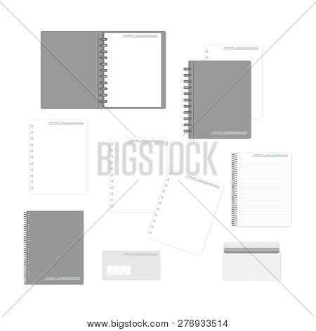 Stationery Mockup Set For Corporate Identity Design. Spiral And Disc Bound Notebooks, Filler Paper,