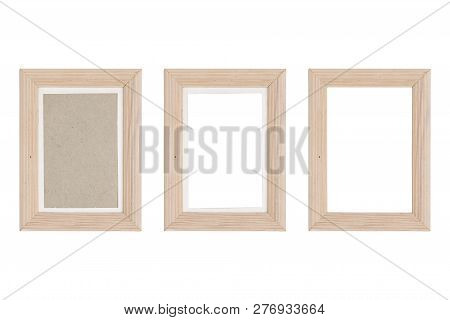 Set Of Three Wood Picture Frames With Passepartout, Isolated On White
