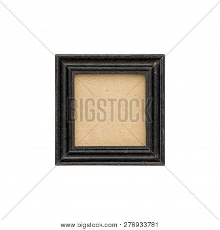 Old Black Wood Picture Frame With Passepartout, Isolated On White