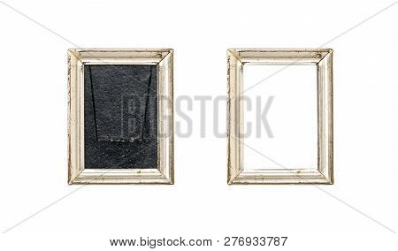Set Of Two Old Silver Wood Picture Frames With Passepartout, Isolated On White