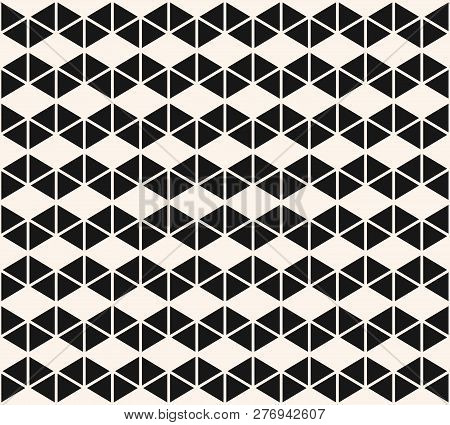 Geometric Triangles Seamless Pattern. Vector Black And White Abstract Texture With Small Triangular