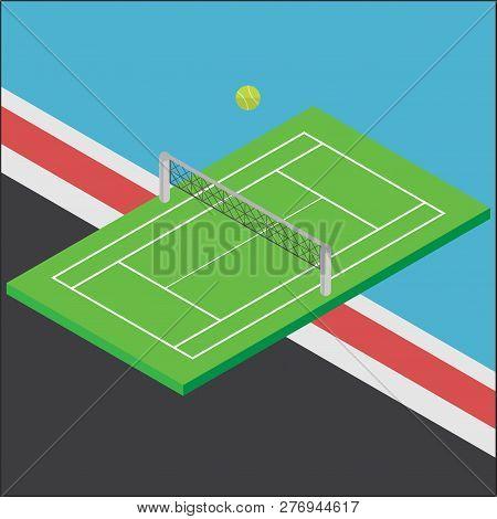 Green Tennis Court Sports Axonometric Design Vector