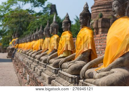 Ayuthaya Historical Place Temple Ancient Famous Destination Of Thialand.