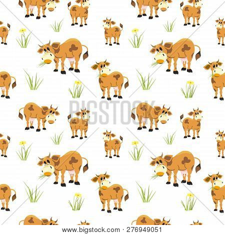 Hand Drawn Quirky Cow Seamless Pattern. Colorful Animals Cartoon. Farming Herd Of Brown Cows In Fun