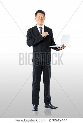 Businessman Holding Notebook And Blank Credit Card
