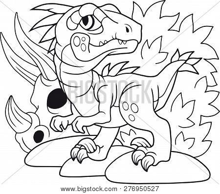 Cartoon Cute Dinosaur Velociraptor, Coloring Book, Funny Illustration