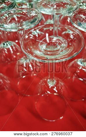 Upside Down Glass Stemware Organized And Ready For A Fancy Event
