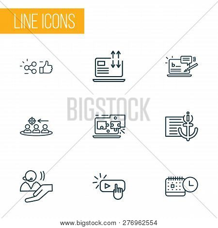 Optimization Icons Line Style Set With Related Content, Traffic Conversion, Anchor Text And Other Su