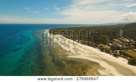 Aerial View Of Tropical Beach On The Island Bohol, Anda Area, Philippines. Beautiful Tropical Island
