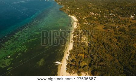 Aerial View Of Tropical Beach On The Island Bohol, Philippines. Beautiful Tropical Island With Sand