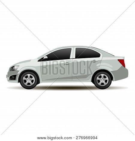 Silver Car Sedan Side View. Vector Vehicle Flat Isolated Illustration. Realistic Mockup Of Contempor