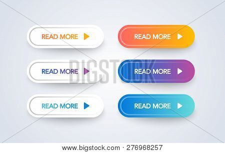 Read More Colorful Button Set On White Background. Flat Line Gradient Button Collection. Vector Web