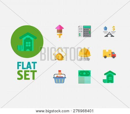 Property Icons Set. Buyer And Property Icons With Property Valuation, Price Calculation And Investme