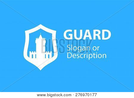 Blazon Emblem With Shield And Stronghold Castle - Vector Logotype Emblem For Business Flat Style