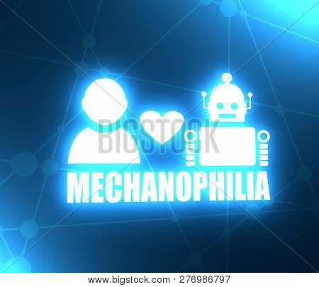 Human And Robot Relationships. Robotics Industry Relative Image. Heart Icon Between Robot And Human.