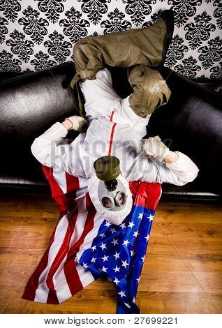 Gas Mask & American flag