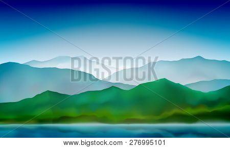 Mountain Lake Landscape, Colorful Nature Background. Blue Mountain Green Hills Landscape. Vector Bac