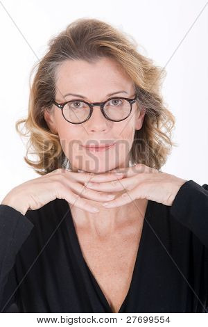 Portrait of an older woman with glasses