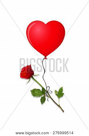 Flower Of Red Rose Flying On Red Heart Shaped Helium Balloon Isolated On White Background. Beautiful